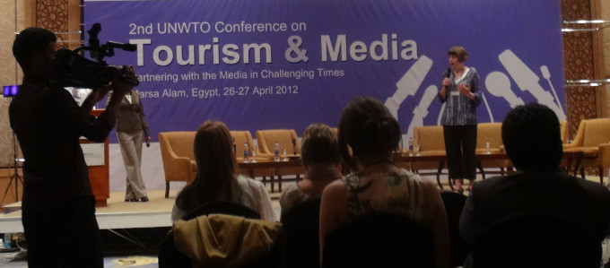 Erica Hargreave speaking on 'Real Time' Storytelling at the UNWTO Conference on Working with Media in Challenging Times.