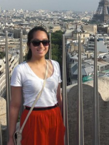Megan looking lovely & relaxed with the City of Paris in the background.