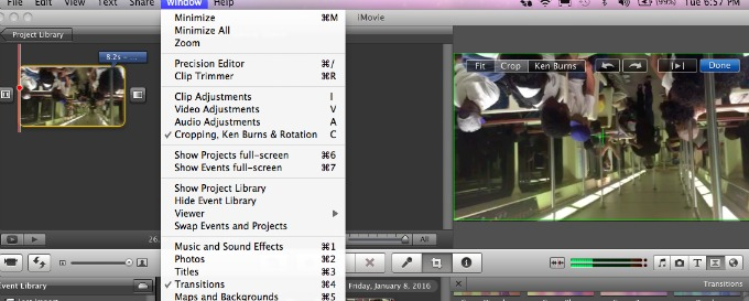 Imovie tutorial how to rotate a video ahimsa media once you have imported your video in imovie and have started a new project with it click on the clip you need to adjust and then from the window menu ccuart Images
